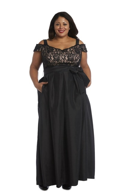High-Waisted Dress with Bow, Lace Top and Cap Sleeves - Plus