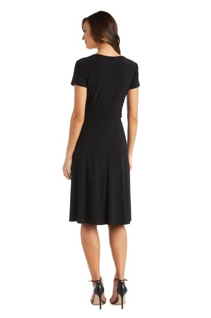 Short-Sleeve Faux-Wrap Dress