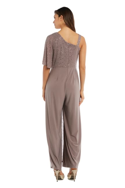 Asymmetric Jumpsuit with Sequined Overlay and Draped Shoulder