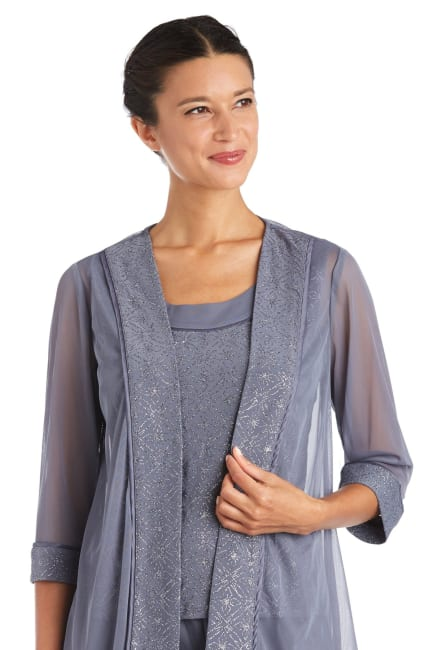 Faux Three-Piece Pant Set with Sparkle Top and Sheer Cardigan