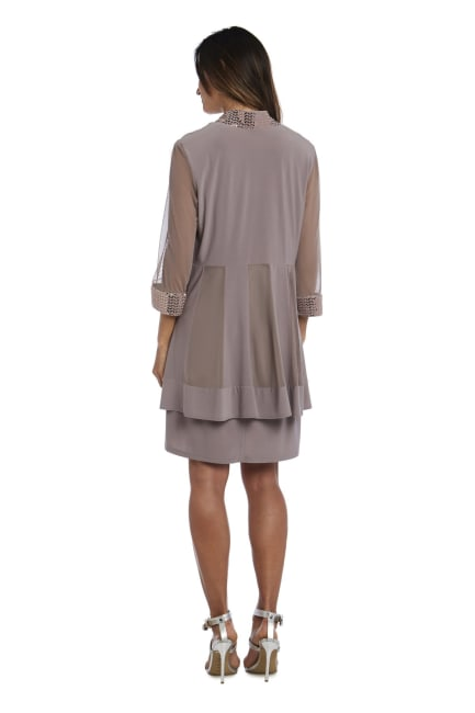 Dress and Jacket Set with Sheer Sleeves and Embellished Edges