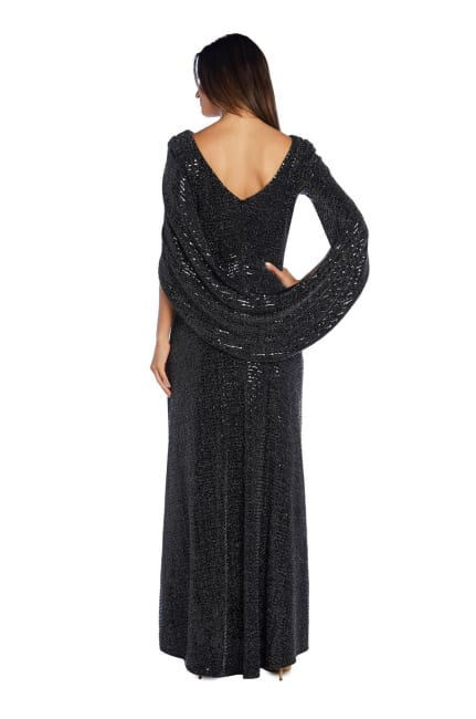 Sequined Column Gown with Cape-Shawl Sleeves