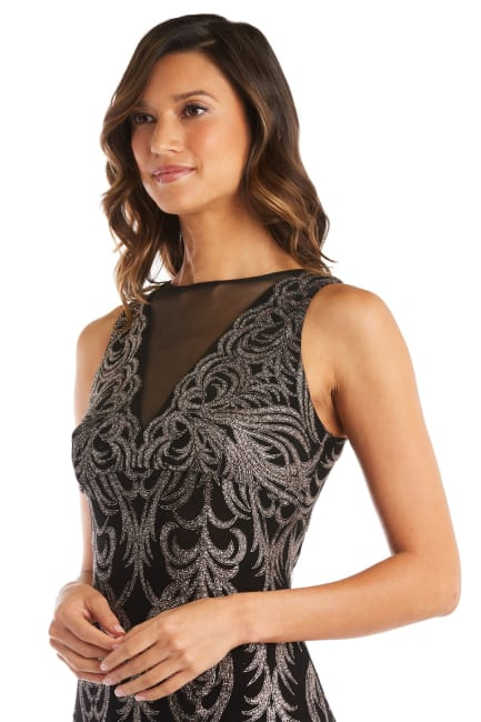 Sheer Insert Glitter Placement Slinky Dress