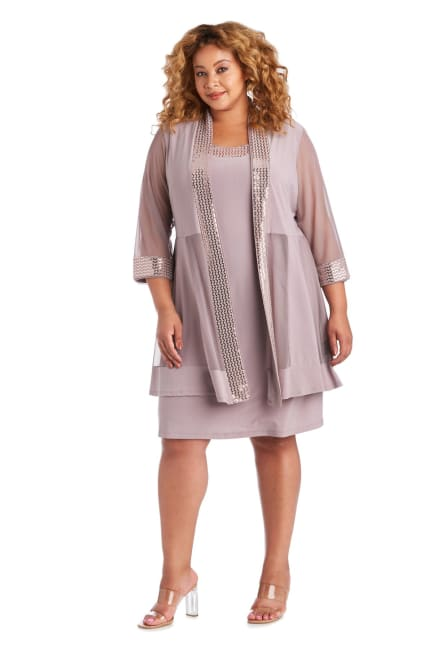 Dress and Jacket Set with Sheer Sleeves and Embellished Edges -Plus