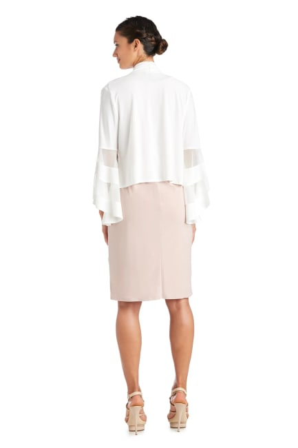 Draped, Open Jacket with Full Sleeves and Sheer Inserts