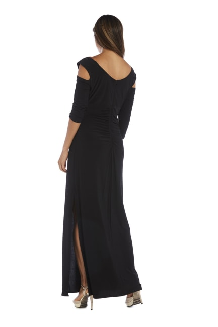 Column Evening Gown with Shoulder Cutouts and Diamante Embellishments