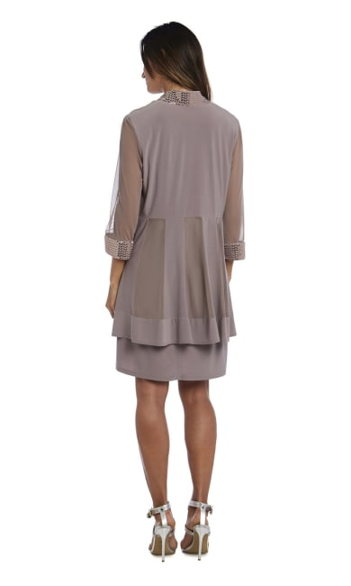 Dress and Jacket Set with Sheer Sleeves and Embellished Edges - Petite