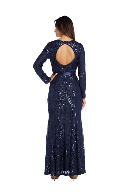 Long-Sleeved Evening Gown with Sequins, Satin Sash and Cutout Back - Petite
