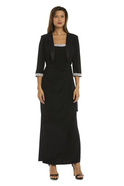 Evening Gown and Cropped Jacket Set with Diamante Detail - Petite