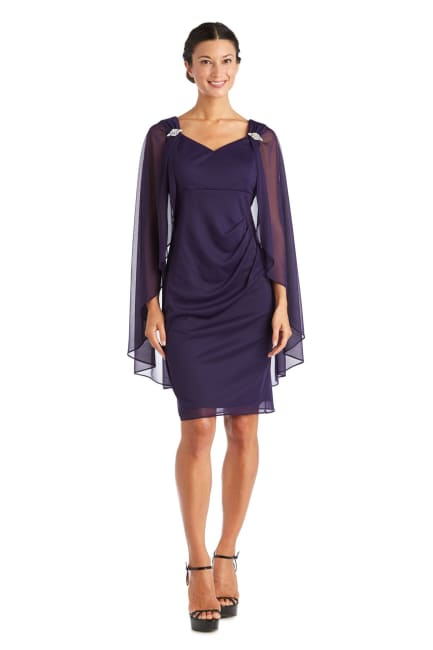 Short Empire Sweetheart Neck Dress with Sheer Cape - Petite