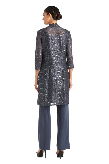 Three-piece Pant Set with Metallic Lace and Long-Line Jacket - Petite