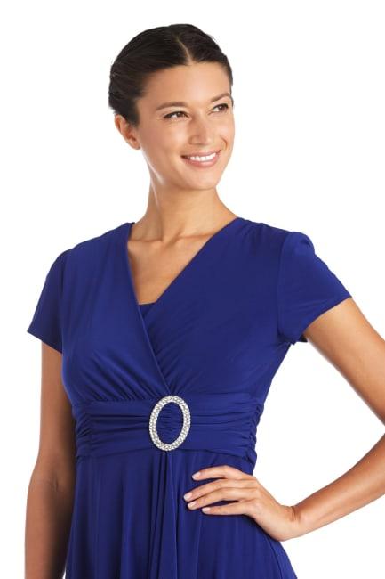Short-Sleeve Faux-Wrap Dress - Petite
