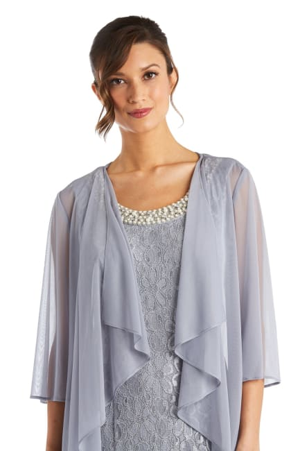 Long Flyaway Sheer Jacket Over Lace Aline Dress With Beaded Necklace - Petite