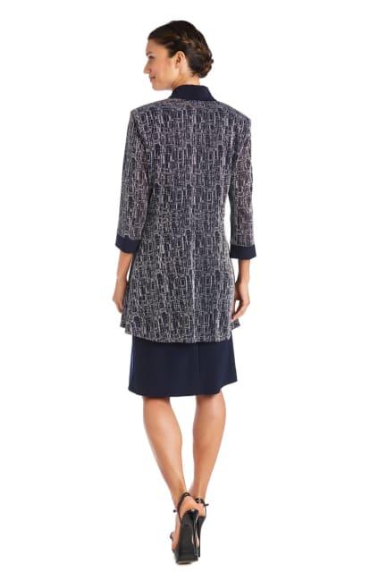 Two-Piece Metallic Knit Jacket Dress -Petite