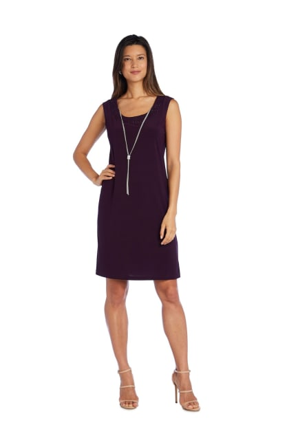 Shift Dress and Jacket Set with Textured Detail and Sheer Inserts - Petite