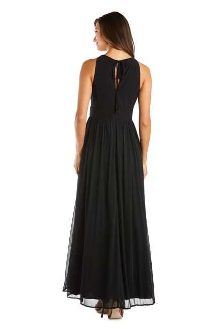 Long Gown with Keyhole Cutout, Halterneck and Flowing Skirt - Petite
