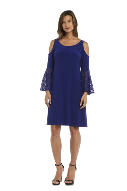 Knee-Length Dress with Shoulder Cutouts and Lace Fluted Sleeves - Misses