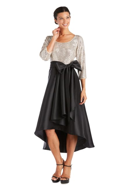 Pleated Sequin High Low Dress
