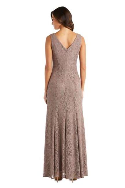 Long Lace Dress with Sheer Chiffon Poncho