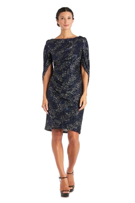 Drape Back Two-Tone Sequin Dress