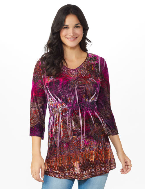 Influential Lady Velvet Knit Tunic Top
