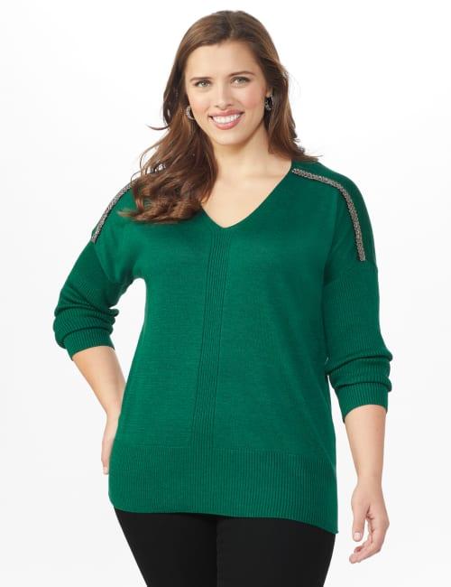 Beaded Sweater Tunic - Plus