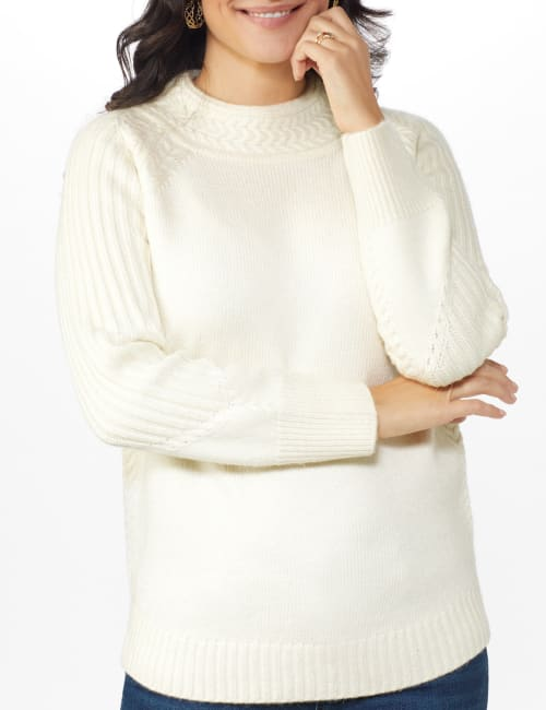 Cable Detail Curved Hem Sweater