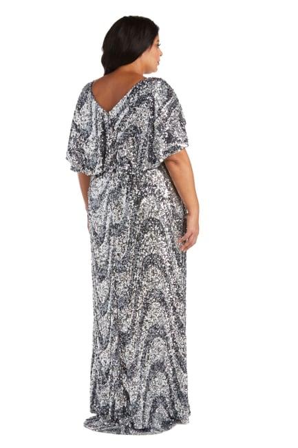 Plus Flutter Capelet Wave Sequin Dress