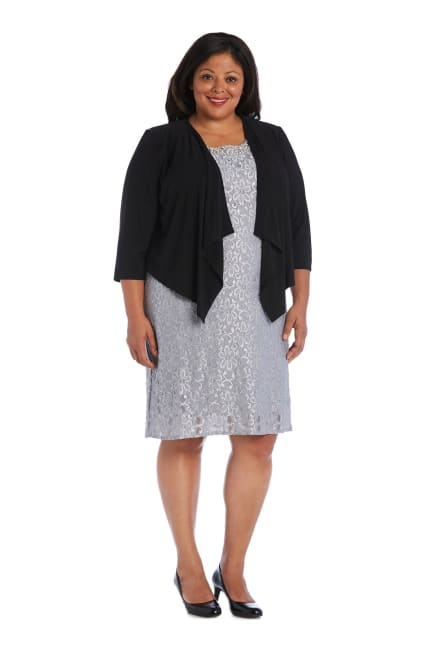 Draped, Open Jacket with Sheer Back Panels and 3/4 Sleeves - Plus