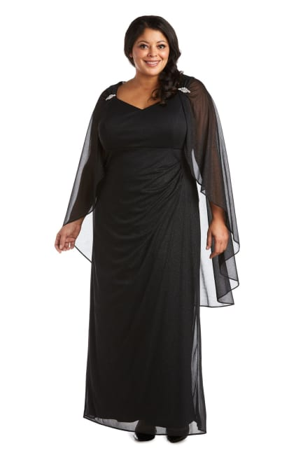 Empire Waist Gown with Sweetheart Neck and Attached Cape - Plus
