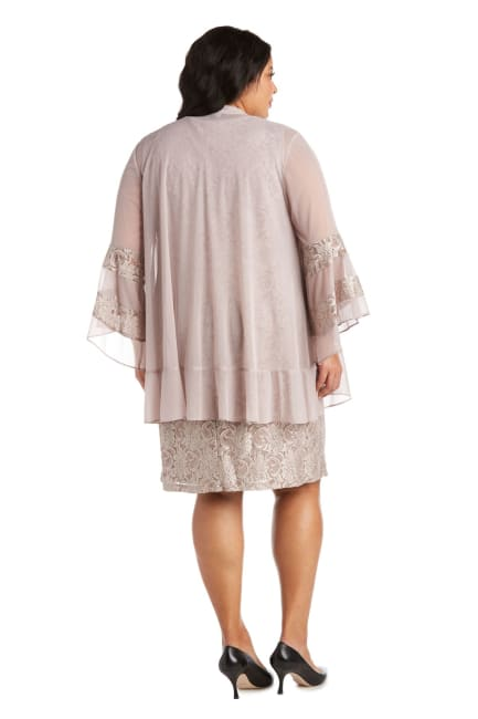 Chiffon Jacket and Dress with Bell Sleeves - Plus