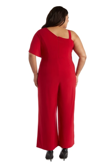 Asymmetric Jumpsuit with Overlay and Draped Sleeves - Plus