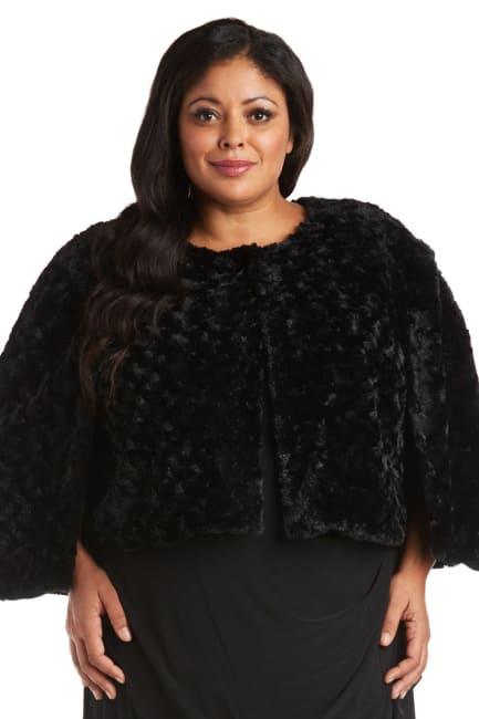 Plus Faux Fur Capelet Jacket