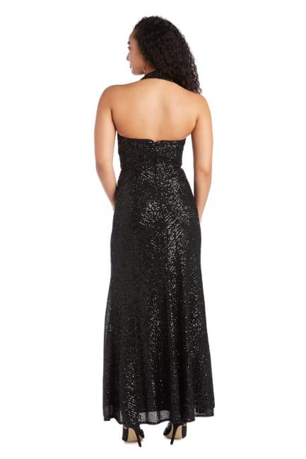 Morgan & Co. Long Stretch Sequin Mock Wrap Dress