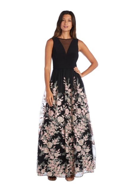 Morgan & Co. Bodice With Insert And Long Embroidered Skirt