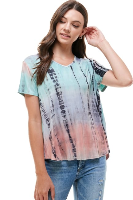 Women Tie Dye V Neck Loose Fit T Shirt Top