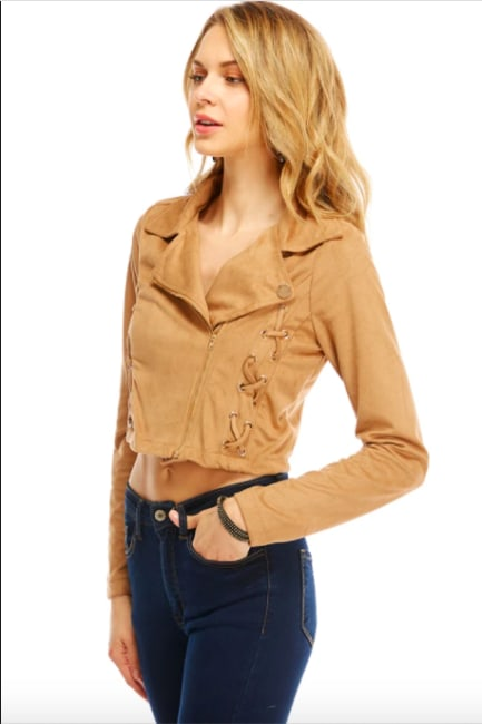 Suede Lace Up Detailed Moto Jacket