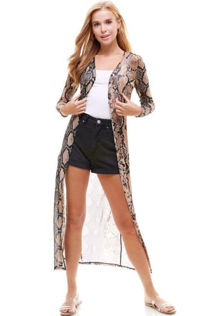 Mesh Long Sleeve Snake Duster Cardigan