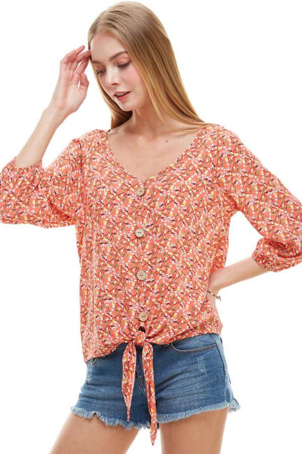 Ditsy Button Front Tie Waist Top