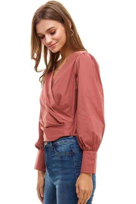 Poplin Wrap Style Long Sleeves Shirts