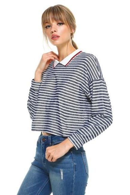 Stripe Cropped Polo Shirts