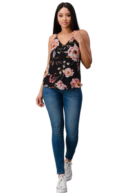 Chiffon Floral V Neck Camisole Top