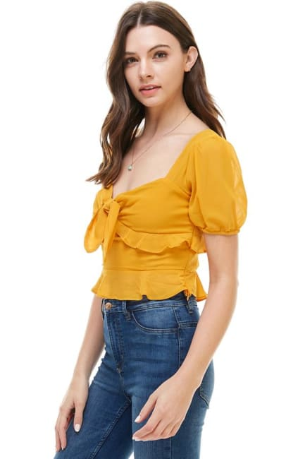Bow Front Puff Sleeves Top
