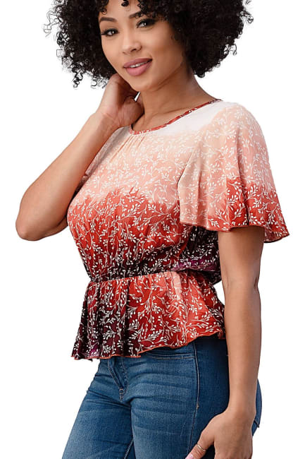 Tie Dye Floral Cinched Waist Top