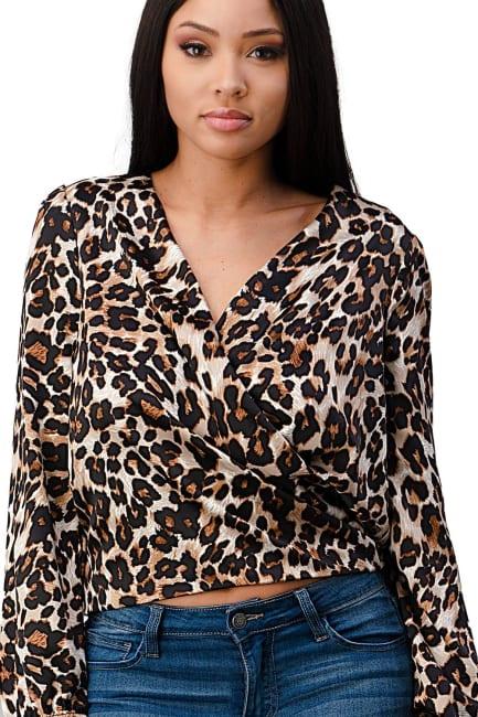 Leopard Wrap Blouse