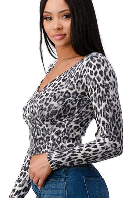 Leopard Cozy Knit Surplice Top
