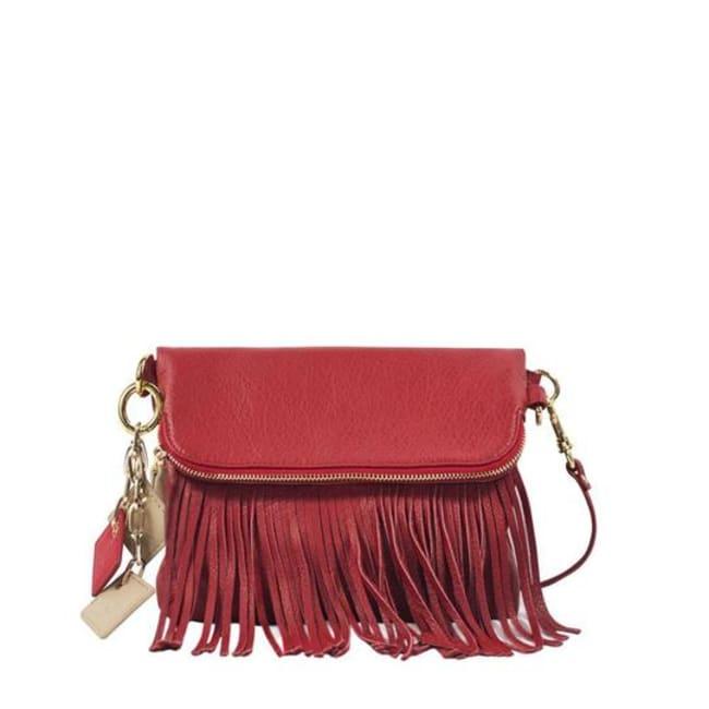 Flamingo Leather Fringe Handbag - Scarlet Red