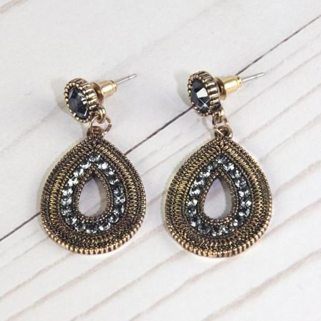 Olive Crystal Flare Earrings