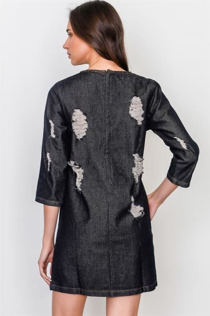 Denim Distressed Mini Dress