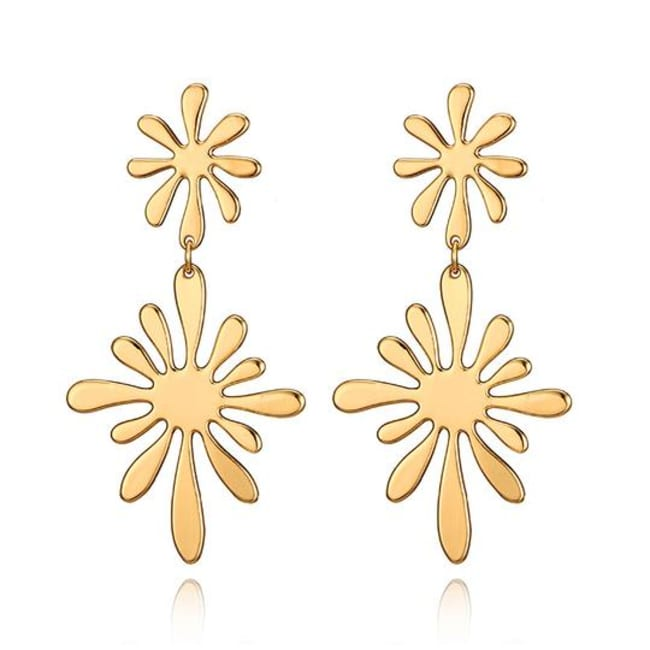 Gold Plated Double Flower Earrings